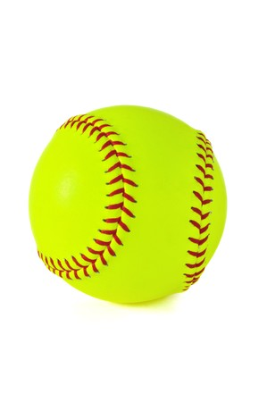 Yellow softball with red stitching isolated on white.
