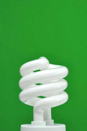 cfl: compact fluorescent light (CFL) with green background,vertical