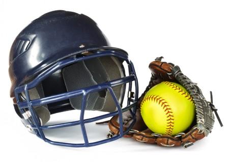 Helmet, Yellow Softball, and Glove isolated on white photo