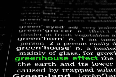 greenhouse effect: The phrase greenhouse effect in a dictionary, green on black