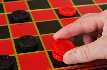 checkers: Playing checkers, making a king