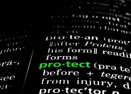 protect: The word protect in a dictionary, green on black