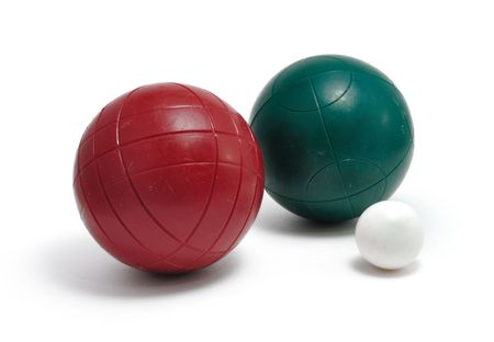 bocce ball: Red and Green Bocce Balls and Pallino (Jack or Boccino)  isolated on white Stock Photo