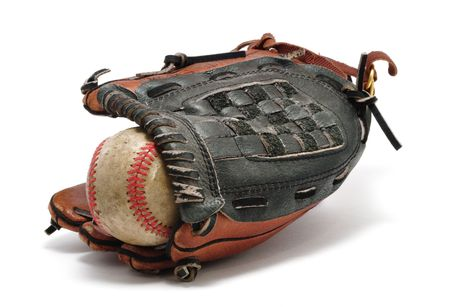 hardball: Old baseball and Glove isolated on white.