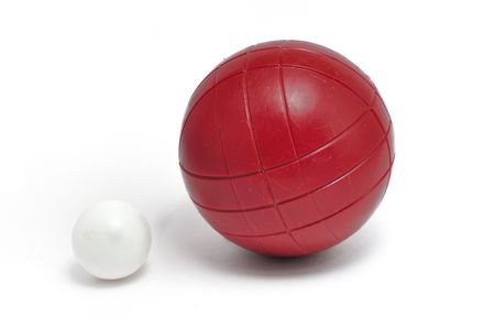 Red Bocce Ball and Pallino (Jack or Boccino)  isolated on white photo