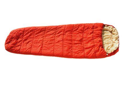 padding: Orange Sleeping Bag isolated on a white background Stock Photo