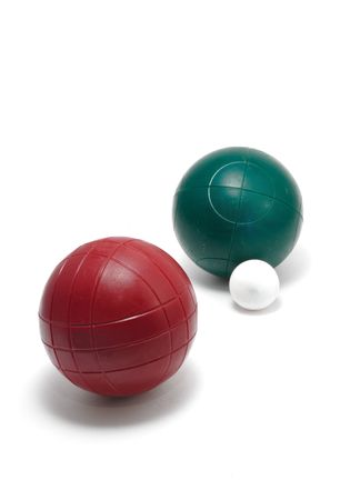 Red and Green Bocce Balls and Pallino (Jack or Boccino)  isolated on white, vertical photo