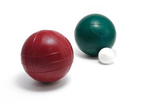 Red and Green Bocce Balls  and Pallino (Jack or Boccino)  isolated on white photo