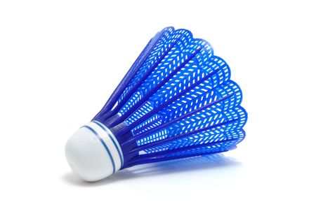 shuttlecock: Blue Badminton Shuttlecock (Birdie) isolated on white