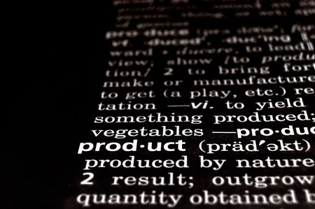 consequence: The word product in a dictionary, white on black