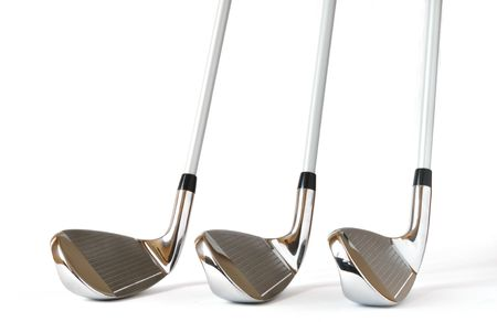 wedges: Pitching Wedge, 8 and 9 Iron Golf Clubs isolated on a white background
