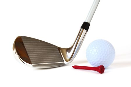 pitching: Pitching Wedge, Golf Ball, and Red Tee isolated on a white background