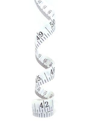白い背景は、垂直方向で分離されたテープ メジャー 写真素材 - 4724302