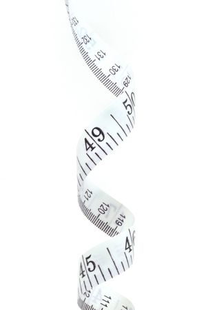 Tape measure isolated on a white background, vertical