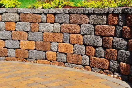 adoquines: Muro y patio, copia espacio