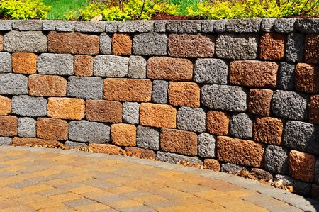 wall textures: Retaining wall and patio, copy space