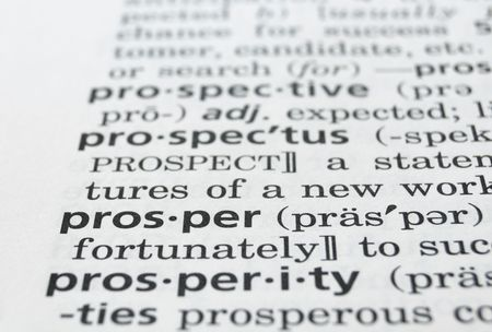 prosper: The word Prosper in a dictionary, closeup Stock Photo