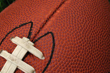 Close-up of Football Texture with laces, copy space Stock Photo - 4984889
