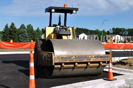 steamroller: Steamroller at Road Construction Site, Copy Space Stock Photo