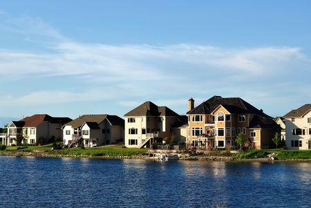 Suburban Executive Home on lake, real estate, copy space Stock Photo - 5075197