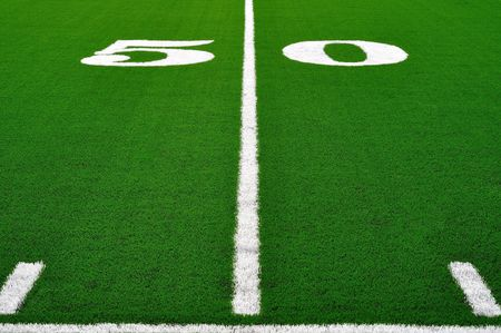 50 Yard Line on American Football Field, Copy Space photo