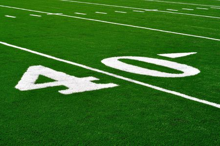 green lines: 40 Yard Line on American Football Field, Copy Space