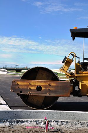 steamroller: Steamroller at Road Construction Site, Copy Space, Vertical