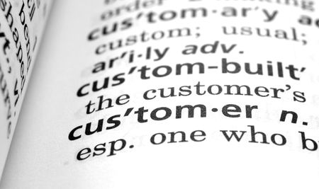end user: The word Customer in a dictionary, close-up