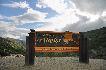 Welcome to Alaska Sign on Klondike Highway near Skagway