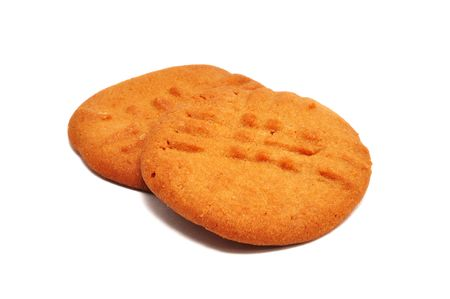 biscuits: Two Peanut Butter Cookies Isolated on a White Background