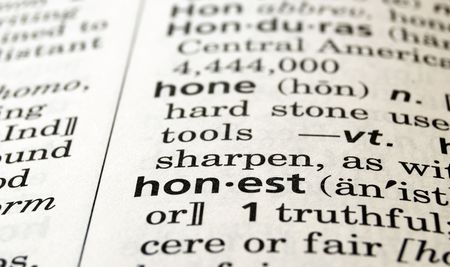 honest: The word honest in a dictionary, close-up Stock Photo