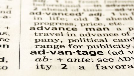 The word advantage in a dictionary, close-up