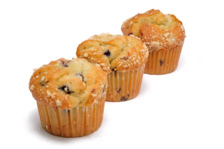 blueberry muffin: Three Blueberry Muffin Isolated on a White Background