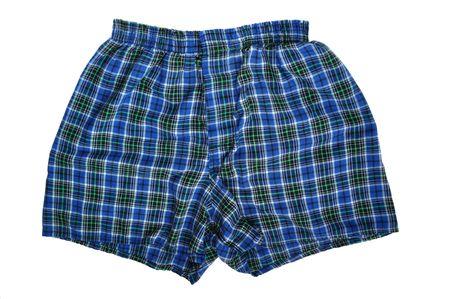 undergarment: Blue Plaid Boxers (Underwear) on a White Background
