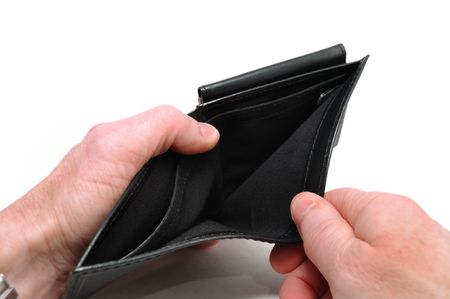 moneyless: Two Hands Opening an Empty Black Wallet Isolated on White Stock Photo