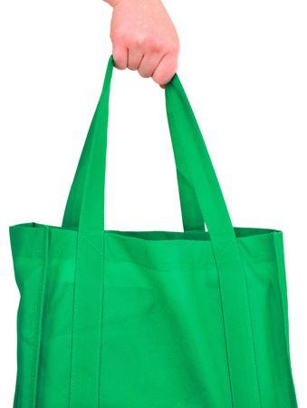 reusable: Esecuzione riutilizzabile Bag verde isolato su bianco Archivio Fotografico