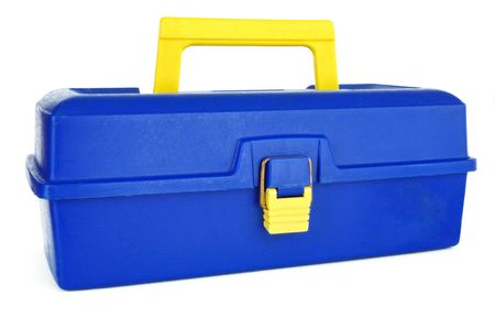 Blue Tackle Box Isolated on a White Background photo
