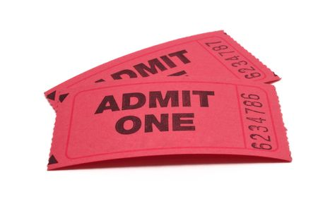 admit one: Two Admit One Tickets Stock Photo
