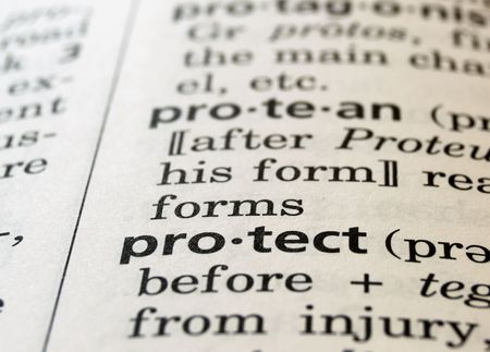 protect: The word protect in a dictionary, close up Stock Photo