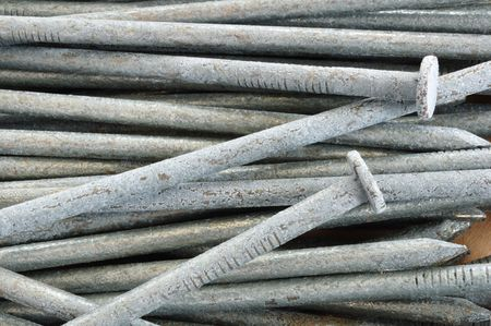 metal fastener: Close-up of Galvanized Nails for a Background