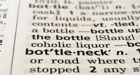 Close-up of the word bottleneck in a dictionary Imagens
