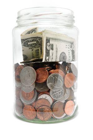 Jar of Money Isolated on a White Background Stockfoto