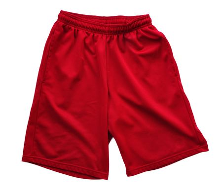 Red Polyester Athletic Shorts Isolated on a White Background