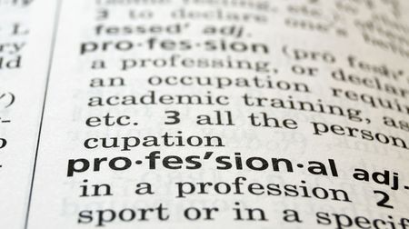 Close-up of the word Professional in a dictionary