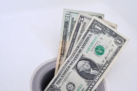 sink drain: Money Down the Drain, Horizontal Format