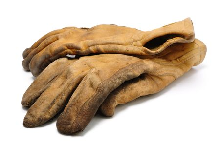 work glove: Old Dirty Leather Work Gloves Isolated On White
