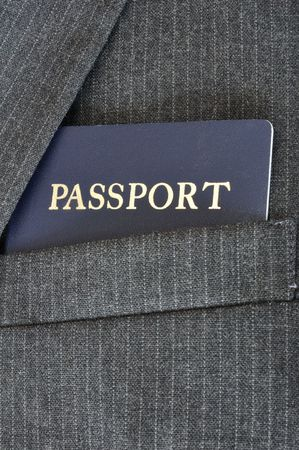 Close-up of Passport in Suit Coat Pocket photo