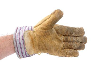 Worker Wearing Leather Work Glove Offering a Handshake