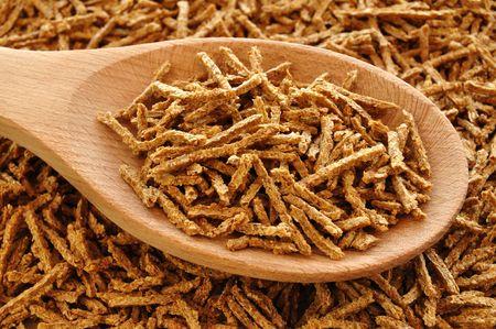 Wheat Bran Breakfast Cereal on Wooden Spoon Stok Fotoğraf - 6440094