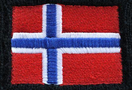 노르웨이의 빨강, 백색 및 파랑 자수 국기